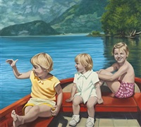 three girls in a boat by diana rattray