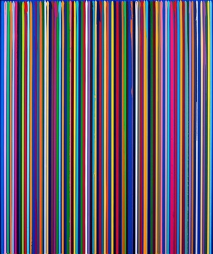poured lines: dark cobalt blue study by ian davenport