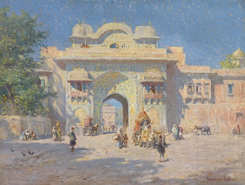 gate of the maharaja's palace, jaipur by colin campbell cooper