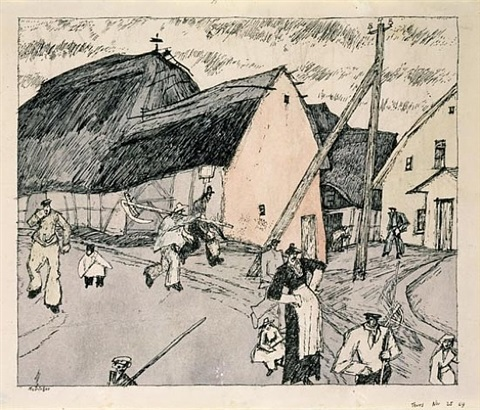 at the farmstead by lyonel feininger