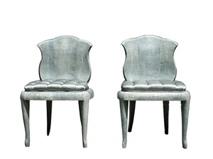 a pair of shagreen chairs by andré groult