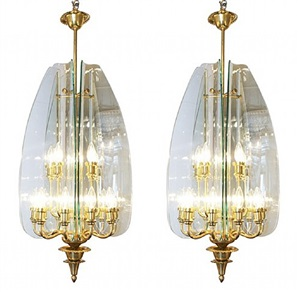a pair of brass and glass chandeliers for fontana arte by pietro chiesa