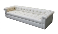 eight foot tufted leather sofa for dunbar by edward wormley