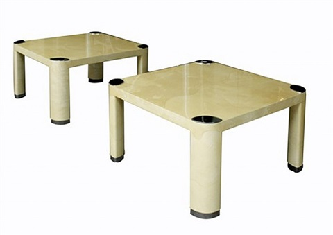 a pair of goatskin occasional tables by karl springer