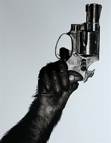monkey with gun by albert watson