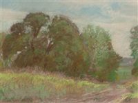 grove of trees and tall grass, near dallas by reveau mott bassett