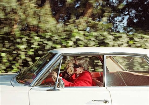 women racing southwest at 41 mph along 26th street near the riviera country club, pacific palisades, california, at 1:14 p.m. on a tuesday in february 1997 by andrew bush