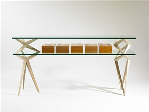 prism console table with boxes