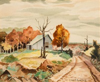 landscape with farm house by charles taylor bowling