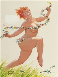 hilda in a green pasture, calendar illustration by duane bryers