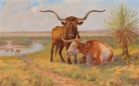 oxen on the pasture by harvey wallace caylor