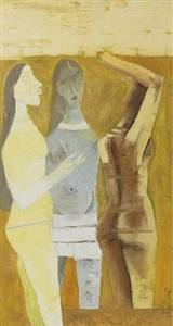 women in yellow by maqbool fida husain