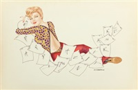 pin-up writing letters by joseph f. de martini