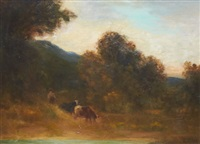 cattle and herder by edward rufus hill