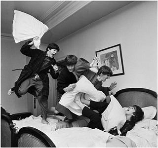 beatles: pillow fight, paris by harry benson
