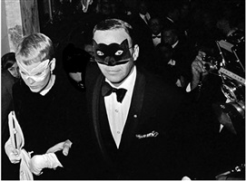 "frank sinatra and mia farrow at truman capote's ""black and white"" ball at the plaza hotel, new york by harry benson"