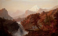 in the rockies (indians at waterfall) by alexander françois loemans