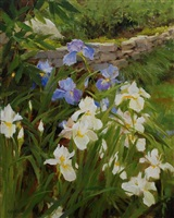 blue and white iris (sold) by kathy anderson