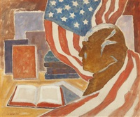 american history books, bust and flag by samuel p. ziegler