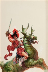the space barbarians, ace double edition paperback cover by kelly freas