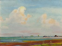 rockport, texas beach and pastoral scene (double-sided painting) by olin herman travis