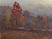 rock fence, autumn morning by olin herman travis