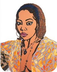 portrait of lovely six foota #1 (edition 11/50) by mickalene thomas