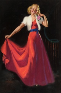 pin-up in a red dress by knute o. munson