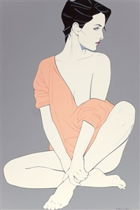 her casual pose by patrick nagel