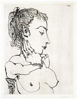 buste de femme à la queue de cheval: jacqueline (bloch 771) by pablo picasso