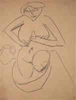 kniender weiblicher akt im badetub / kneeling female nude in bathtub by ernst ludwig kirchner