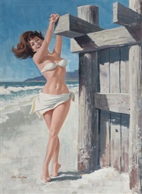 brunette in white bikini on the beach by arthur saron sarnoff