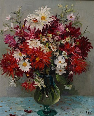 grand vase dahlias by marcel dyf