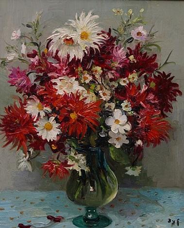 grand vase dahlias by marcel dyf