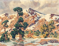 mountain scene with rider by fred darge