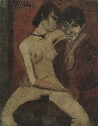 liebespaar - sitzendes zigeuner-liebespaar / couple - seated gypsy-couple by otto mueller
