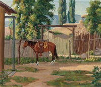 horse by an adobe by fred darge