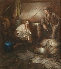 in the shelter, probable story illustration by harvey t. dunn