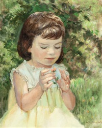 portrait of a little girl with flower by emily guthrie smith