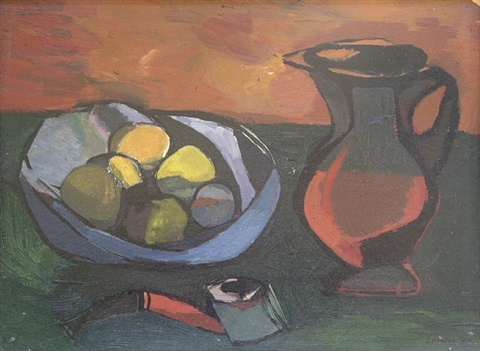 still life with jug and pipe by kenneth lauder