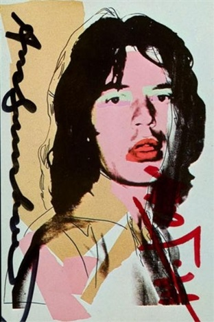 promotional card for andy warhols mick jagger suite signed by andy warhol and mick jagger by andy warhol