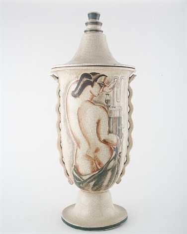 monumental lidded vase by rené buthaud