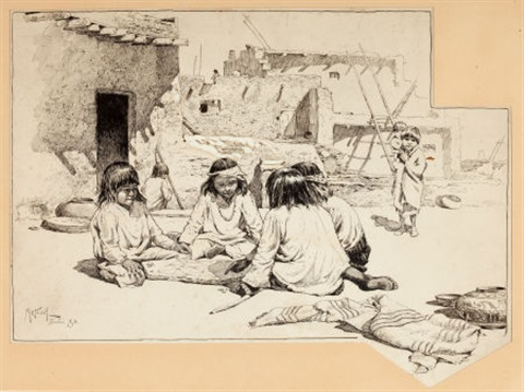 zuni children at play by willard leroy metcalf