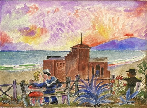 lovers at santa monica bluff by david davidovich burliuk
