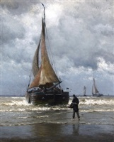 on the coast of holland, fishing boat ready for sea by william edward norton