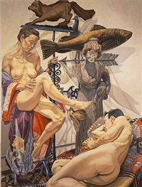 fox, fish, models and wooden lady by philip pearlstein