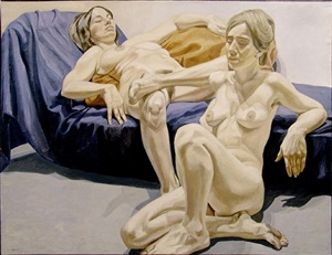 two nudes and couch by philip pearlstein