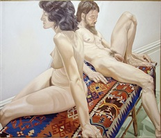 male and female models on bench by philip pearlstein
