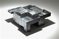 black resin fossil coffee table (large) by studio nucleo