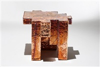 copper fossil table by studio nucleo